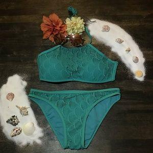 Coral tropic teal bikini set